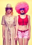 De vrouw van de schoonheidsmanier hipster, modieuze zusters Stock Foto