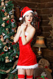 De vrouw van de schoonheidsmanier in sexy kleding, de nieuwe achtergrond van de jaarboom Royalty-vrije Stock Foto