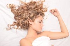 De vrouw van de slaap Stock Foto's