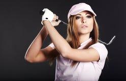 De Vrouw van de Speler van het golf. Stock Afbeeldingen
