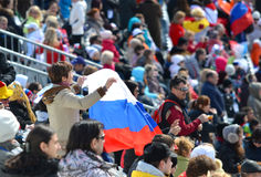 De vrouw van de sportpret met nationale vlag van Russische Federatie Stock Afbeelding