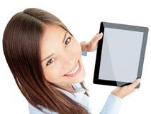 De vrouw van de tablet Stock Afbeeldingen