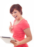 De vrouw van de tabletcomputer Stock Foto