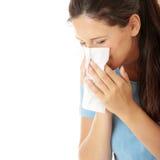 De vrouw van de tiener met allergie Royalty-vrije Stock Afbeelding
