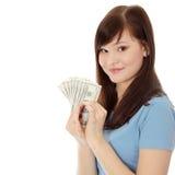 De vrouw van de tiener met dollars. Royalty-vrije Stock Foto