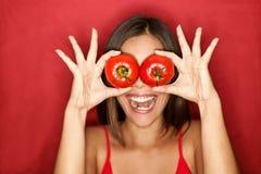 De vrouw van de tomaat Stock Fotografie