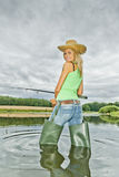 De vrouw van de visser stock foto