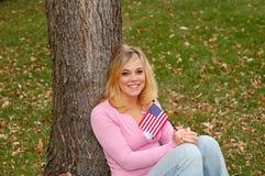 De vrouw van de vlag Royalty-vrije Stock Afbeelding