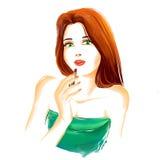 De vrouw van de waterverfmanier met rode lippenstift Stock Afbeelding
