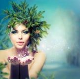 De Vrouw van de winterkerstmis Royalty-vrije Stock Foto's