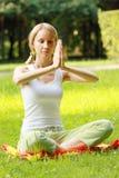 De vrouw van de yoga bij meditatie Royalty-vrije Stock Afbeelding
