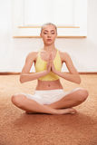 De vrouw van de yoga Jonge Dame Practicing Morning Meditation Royalty-vrije Stock Foto's