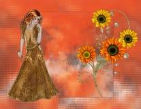 De Vrouw van de zonnebloem op Oranje Achtergrond Royalty-vrije Stock Foto