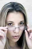 De Vrouw van glazen Royalty-vrije Stock Foto's
