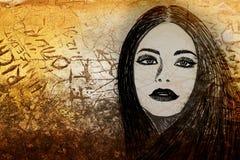 De vrouw van Graffiti op muur Stock Afbeelding