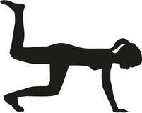 De vrouw van het aerobicssilhouet Stock Foto's