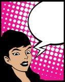 De vrouw van het de bellenpop-art van de toespraak Stock Foto