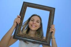 De Vrouw van het frame stock afbeeldingen