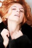 De vrouw van het portret in bont Stock Afbeeldingen