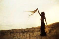 De Vrouw van het silhouet Stock Foto's