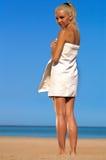 De vrouw van het strand Stock Foto's