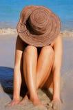 De Vrouw van het strand Stock Afbeeldingen