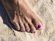 De Vrouw van het voetstrand nagelt Roze Stock Foto