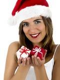 De vrouw van Kerstmis Stock Foto's