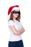 De vrouw van Kerstmis in 3d glazen Stock Fotografie