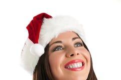 De vrouw van Kerstmis het denken stock foto