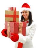 De vrouw van Kerstmis met giften Royalty-vrije Stock Afbeeldingen