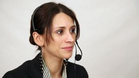 De vrouw van de klantendienst stock video