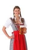 De vrouw van Oktoberfest met bier royalty-vrije stock fotografie