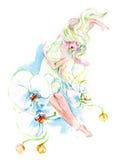 De vrouw van orchideeën royalty-vrije illustratie