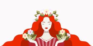 De vrouw van de roodharige met bloemen vector illustratie