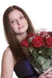 De Vrouw van rozen stock afbeeldingen