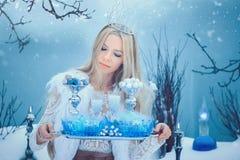 De Vrouw van de de winterschoonheid Mooi mannequinmeisje met het kapsel en de samenstelling van glasflessen in de winterlaborator stock afbeelding