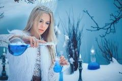De Vrouw van de de winterschoonheid Mooi mannequinmeisje met het kapsel en de samenstelling van glasflessen in de winterlaborator royalty-vrije stock afbeeldingen