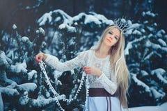 De Vrouw van de de winterschoonheid Mooi mannequinmeisje met sneeuwkapsel en make-up in de de winter bos Feestelijke make-up en d royalty-vrije stock afbeeldingen