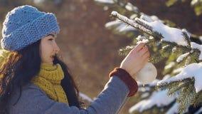 De vrouw verfraait spar met stuk speelgoed tijdens nieuw jaar in bos stock videobeelden