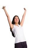 De vrouw verheugt zich met wapens in lucht Stock Foto's