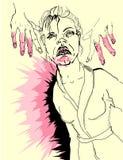 De vrouw in verschrikking stock illustratie
