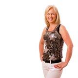 De vrouw vrij op middelbare leeftijd kleedde zich voor partij Royalty-vrije Stock Foto
