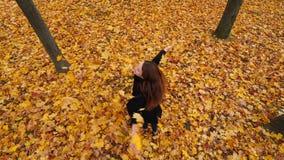 De vrouw werpt in bladeren van de lucht de gele esdoorn stock videobeelden