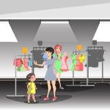 De vrouw in winkel koopt kleren royalty-vrije illustratie