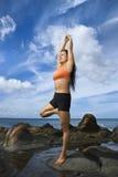 De vrouw in yoga stelt stock afbeelding