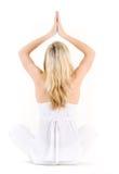 De vrouw in yogalotusbloem stelt Royalty-vrije Stock Foto