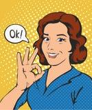 De vrouw zegt o.k. de strippagina retro stijl van het succespop-art Stock Foto