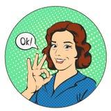 De vrouw zegt o.k. in de strippagina van het cirkelpop-art Royalty-vrije Stock Foto's