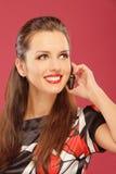 De vrouw zei door mobiele telefoon Stock Foto's
